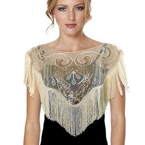 Sweaters - 🆕NWOT Chic Vintage Inspired Sequin Fringe Cape